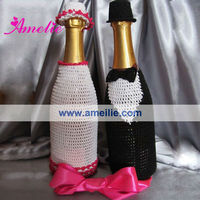 AG191 Wedding bride and bridegroom bottle jacket crochet