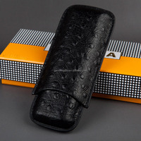 Custom Brand New Black Ostrich Skin Pattern 2 Finger Dia. 20mm Genuine Leather Cigar Case