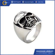 RR0500 Fashion Stainless Steel Skull Ring,316L Titanium Men Ring Wholesale,Gothic Biker Skull Ring