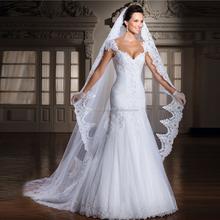Cap sleeve beaded appliqued wholesale mermaid 2015 cheap detachable train lace wedding dress LCWFaww2098