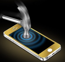 9h explosion-proof 0.33mm Gold mirror Tempered Glass Screen Protector for iphone 5/5s