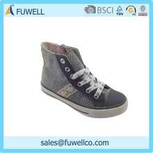 High quality casual style soft canvas lace up high ankle safety shoes