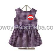 Embroidery Dog Apparel Logo Imprinted Purple Bow Dog Skirts Gingham Pet Products Dog Dress