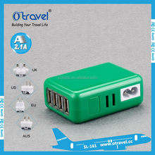 Travel charger 5V 2A 4Ports 4 in 1 Port USB 2.1A Portable Home Travel Wall Charger US Plug AC Power Adapter
