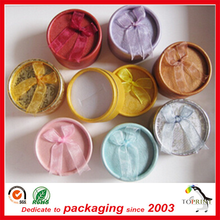 Custom any size paper small round box for jewelry gift ring packaging cardboard tube colorful Green class with foam