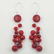 Silver Coral Earrings Red Sponge Coral Cluster Danglers