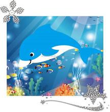 Factory supply dolphin design 5d diy diamond painting 17*21cm