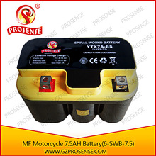 12V 7.5AH Awesome Street Legal Motorcycle 200cc MF Spiral Cell Battery (Black shell)