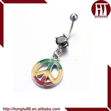 HT Colorful Plating Belly Stud Ring Dangle With Clear CZ Gem Aeroplane Chess Logo Navel Piercing Jewelry
