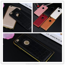 Luxury Crocodile Skin Leather Aluminum Metal Back Cover Case For iphone 6