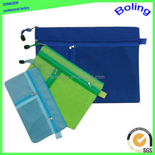 new style three zippers mesh oxford cloth carrying file folder bag
