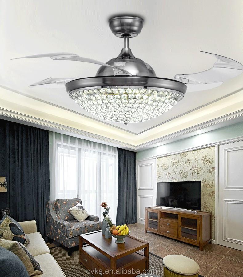Prata invis vel luz ventilador de teto do quarto moderno e - Fotos de ventiladores de techo ...