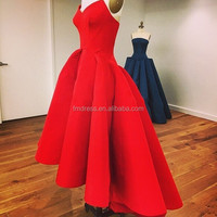 Off the Shoulder Short Front Long Back Red Sexy Prom Ball Gown Party Dress GXR