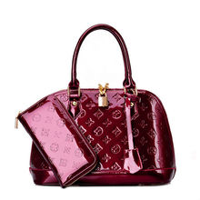 2015 Shinny leather handbag with wallet purse