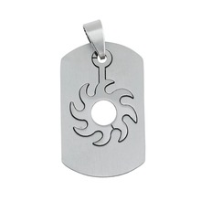 Stock 316L Stainless Steel Sunshine Shape Inlaid Design Tag Pendant For Necklace