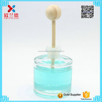 Round clear reed diffuser glass bottle aroma diffuser bottle with wooden ball