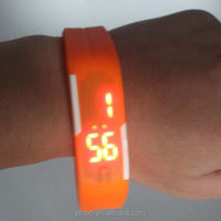 Custom Digital Watch Red Numbers, LED Light Silicone Jelly Sports Watch orange Band Men Wrist Watch