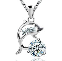 High Quality Fashion Wedding Jewelry 925 Sterling Silver Chain Copper Zircon Stones Dolphin Pendant Necklace