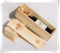 Unfinished Sliding Lid Single Bottle Wooden Wine Box with Handler