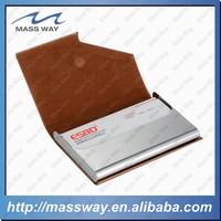 fashion custom OEM ID metal genuine leather credit card case