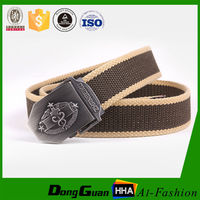 Metal buckl woven canvas fashion belt for women and men