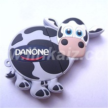 cheap pvc rubber 3d cartoon usb mill cow shape cartoon usb flash drives