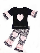 Pretty design toddler girls clothing children clothes set sweet child clothing wholesale