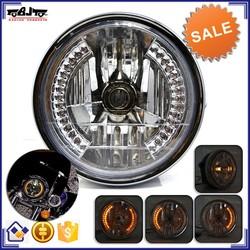 BJ-HL-007 Wholesale off road 35W black amber round LED motorcycle headlight for harley davidson