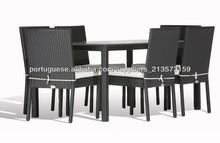 Alumínio PE rattan mesa de jantar de vidro exterior SIGMA 6 cadeiras em setembro