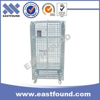 4 Wheels Wire Transport Table Trolley, Galvanized Steel Rolling Cage Cart