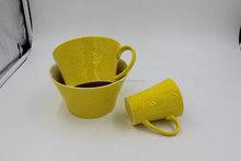 M3587 big yellow ceramic soup bowls, ceramic sara bowls ,ceramic coffee mug