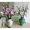 GNW FLMA80 Wholesale Silk Flowers White Artificial Magnolia Flower with Plastic branches for Party Decoration
