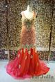 Magnífico y Junoesque Strass con cuentas dorado flores del cordón del bordado sirena hecho a mano vestidos noche largos 2015