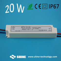 High quality CE EMC RoHS 110v 220v ac input 12v dc output led driver, 20w led light driver