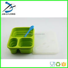 eco friendly elegant silicone foldable 3-compartment bento lunch box containers