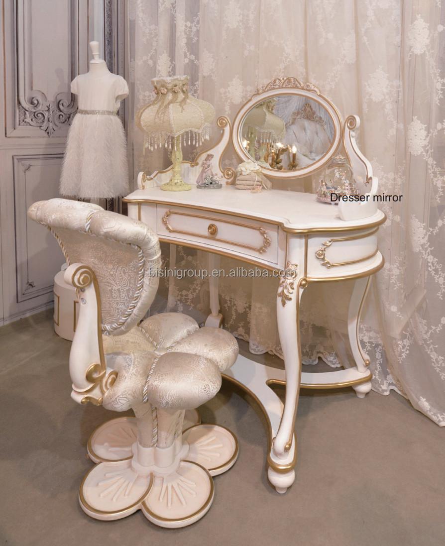 European Style Kids Princess Dressing Table Antique Wooden Ivory Mix Gold Mak