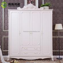 New Designs White Flat Pack Classical Korean European French Baroque Style Wooden MDF 3 4 Door bedroom Wardrobe Closet