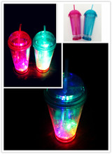 2016 China 450ml in public area recycling wholesale led clear plastic straw cup with lid