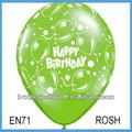 hecho en china de goma feliz cumpleaños del globo de látex