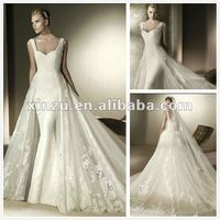 Off-shoulder Sweetheart Neckline Cross-ruffled Applique and Lace Mermaid Wedding Dress