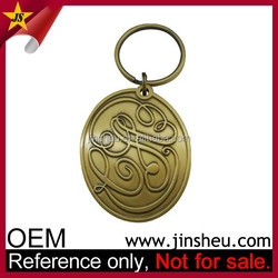Wholesale Metal Stamped Cheap Custom Made Oval Brass Key Chain
