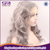 Body wave wig silver grey synthetic hair lace front wig