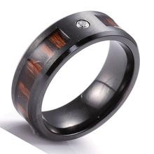 newly designed female jewellery,wood and stone inlay titanium ring