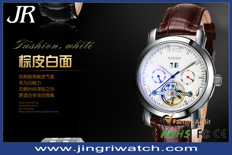 Vogue watches 2014 western watches,automatic mechanical watch, genuine leather top brand men watch