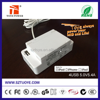 China suppier, fast 5V 4.2A 4 port cell phone desktop usb wall charger /usb wall power adapter with safty switch