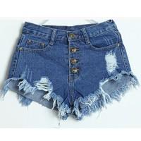 Women Acid Wash High Waisted Shorts Sexy Jeans Short SV002567