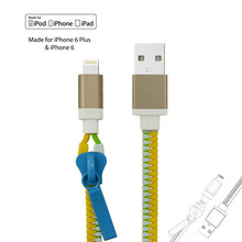 High quality MFI approved 8 pin connector zipper usb cable for iphone 6 charger cable for iphone 5s with metal ends