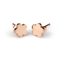 Adorable stainless steel rose gold flower huggie earrings jewelry wholesale for gift
