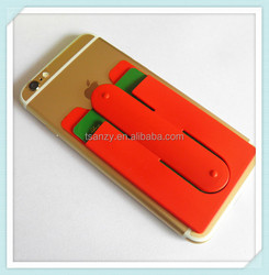 Silicone rubber 3M adhesive backed smart cellphone stand credit card holder