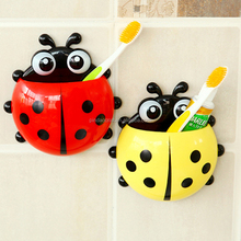 Lady beetle plastic suction cup toothbrush holder